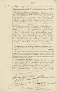 Huwelijksaktie Winschoten  11 mei 1936