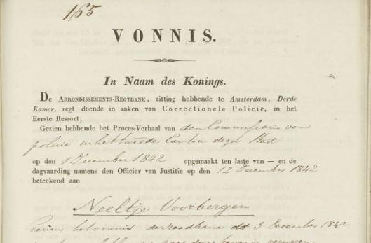 Neeltje Voorbergen in de rechtbank 1842
