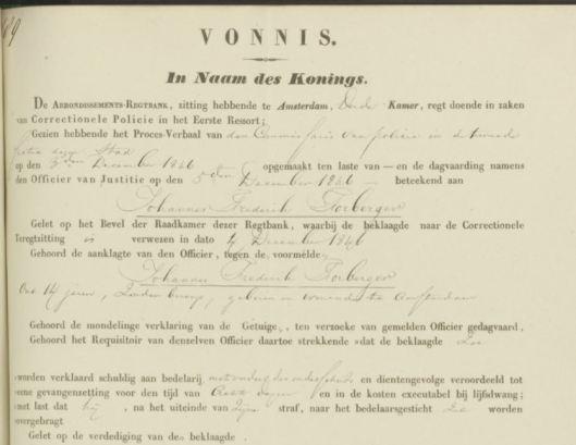 Rechtbank Johan Frederik Slaterus 1846