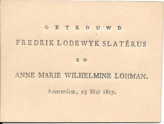 Huwelijkskaartje Slaterus - Lohman