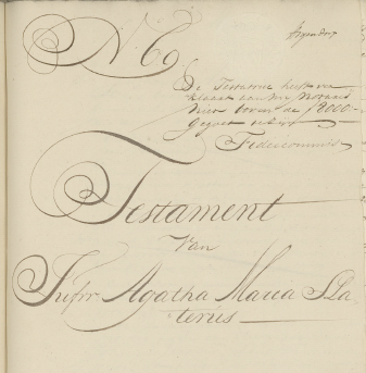 Testament 1757 Agatha Maria Slaterus