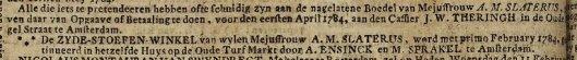 Oproep boedel Agatha Maria Slaterus